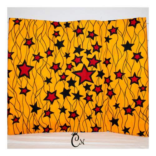 African Fabric Yellow with Red Stars