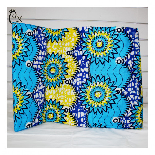 African Fabric Yellow and Blue Flowers