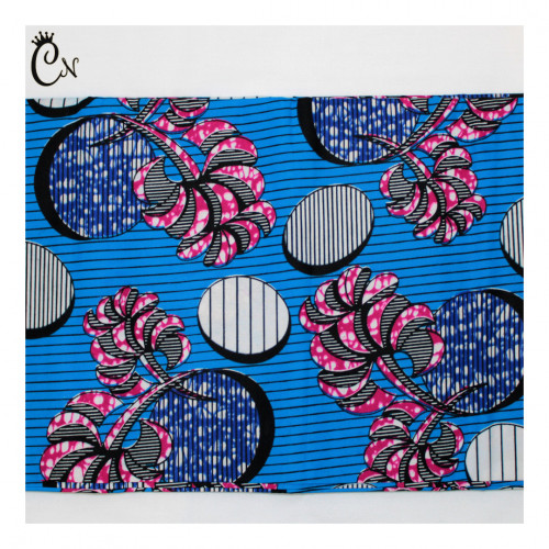African Fabric Pink Flower