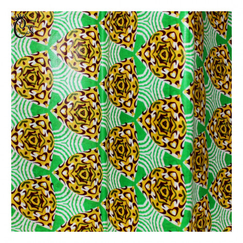 African Fabric Green with Yellow Flowers