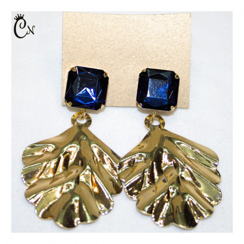 Metal Earrings with Blue Stone