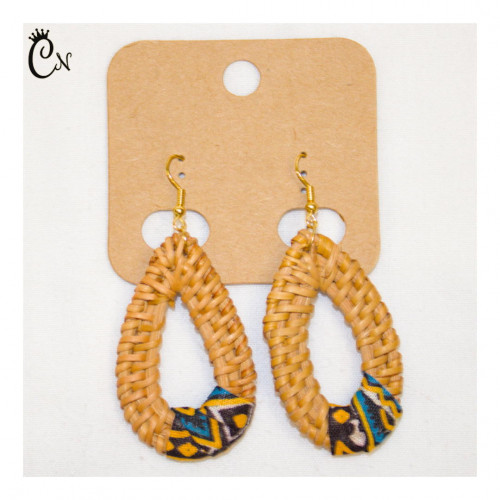 Straw Earrings with Blue and Brown Capulana