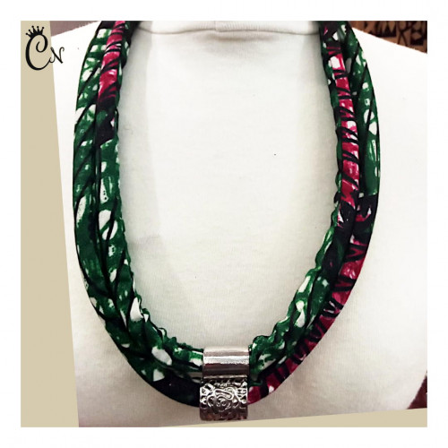 Green and Pink Necklace with a Metal Piece