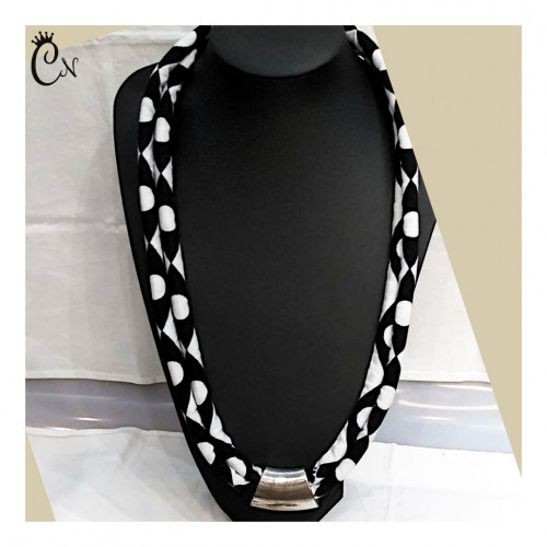 Black and White Necklace with Metal Piece