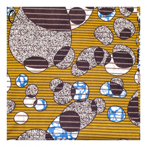 Yellow African Fabric with Blue Balls