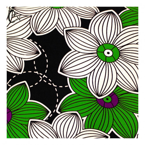 African Fabric with Green and White Flowers