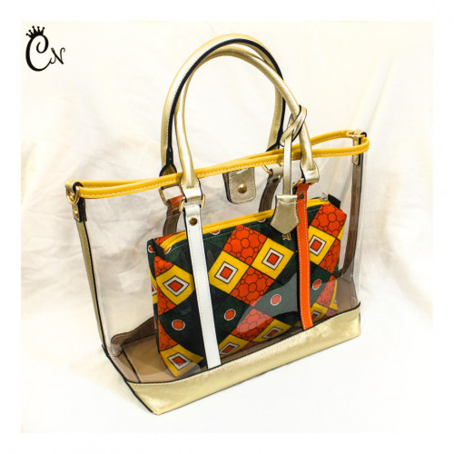 Transparent Bag with Orange and Green Purse