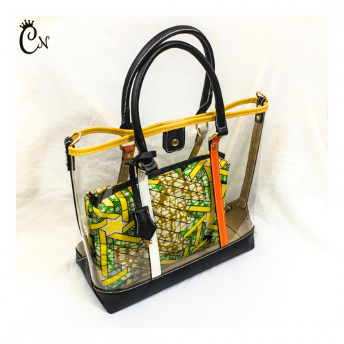 Transparent Bag with Green and Yellow Purse