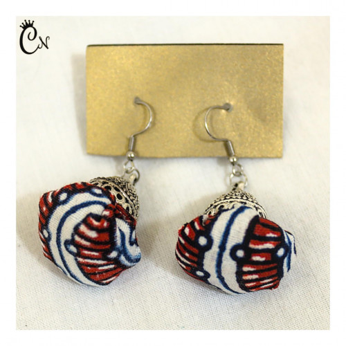 Blue and Red Ball Earrings