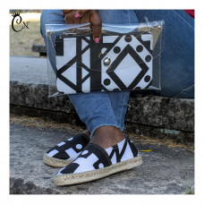 Black and White Purse with Belt